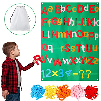 WATINC 122Pcs Alphabet Felt Flannel Board Kit for Kids Reusable Velcro Upper Lower Case Letter Numbers Math Symbols Giant Wall Hanging Preschool Educational Toy Christmas Birthday Gift for Boys Girls: Toys & Games