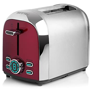BESTEK Stainless Steel 2-Slice Digital Toaster, Extra Wide Slot for Bagel with 7 Level Shade Controls and 4 Mode Setting