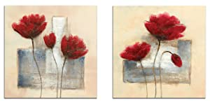 Wieco Art Charming Spring Modern 2 Panels Stretched and Framed Giclee Canvas Prints Artwork Abstract Floral Oil Paintings Style Picture Photo on Canvas Wall Art for Bedroom Home Decorations 2pcs/set