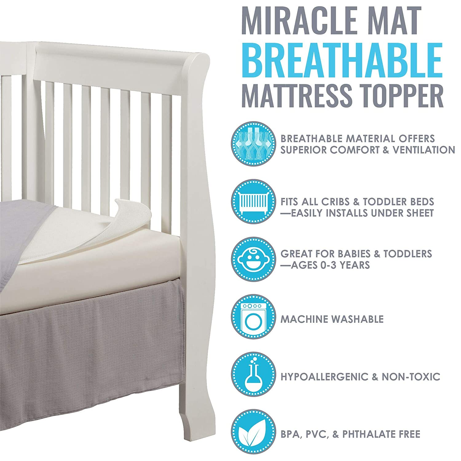 Baby Breathable Miracle Mat Superior Ventilation Crib Mattress Topper L.A