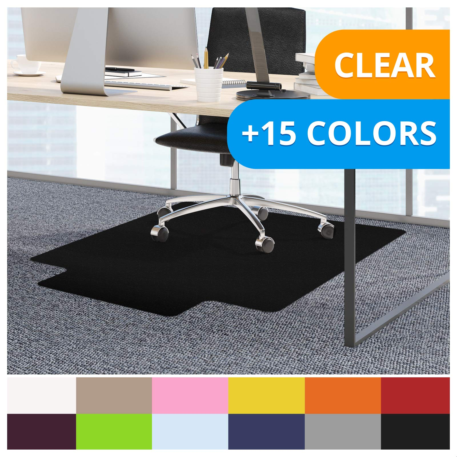 casa pura Office Chair Mats for Carpeted Floors - 36''x48'' with Lip | Carpet Protector Floor Mat, Black - BPA Free, Odorless | Matching Desk Mats Available