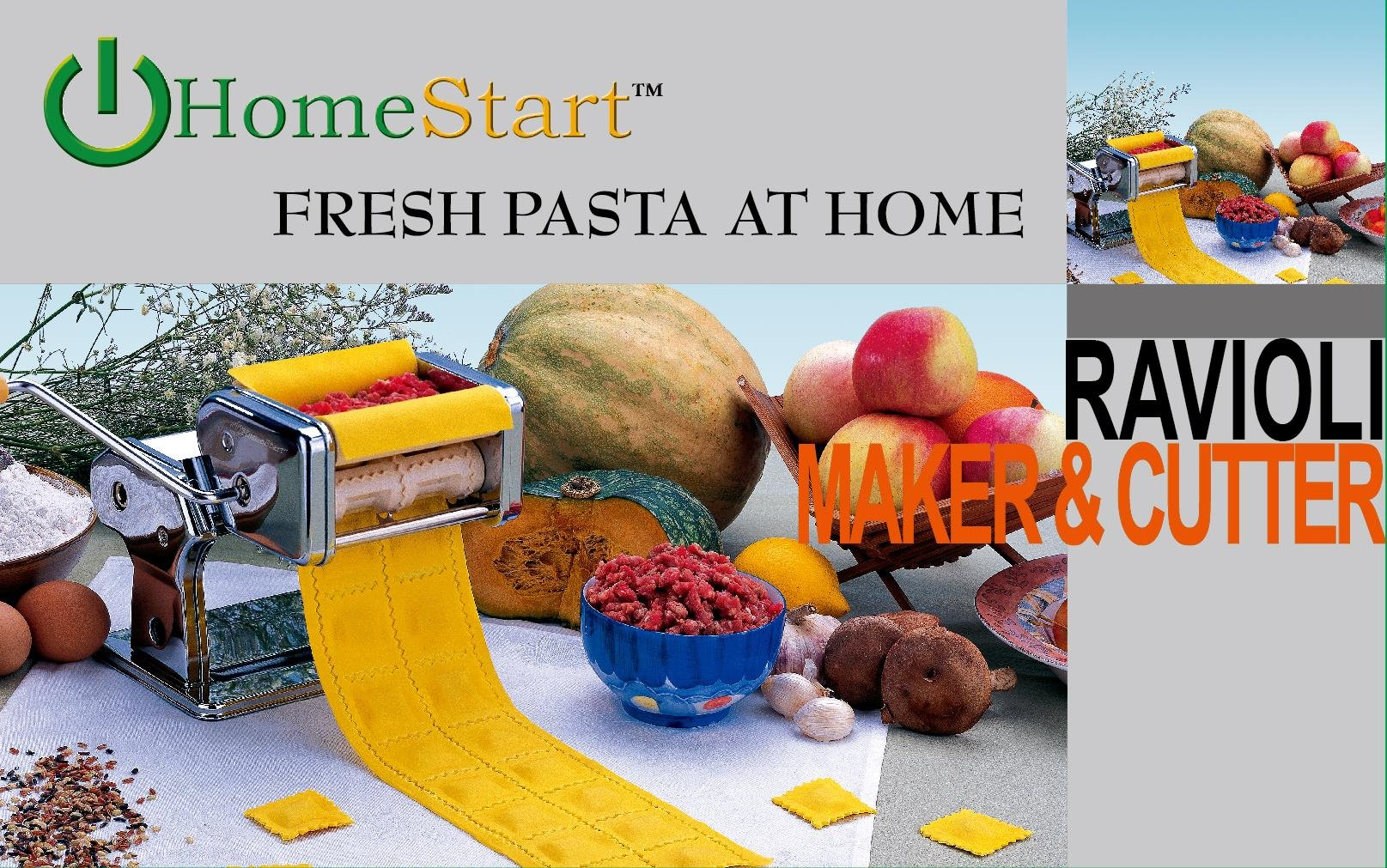 HomeStart Ravioli Pasta Maker (Stainless Steel) (Ravioli Maker)