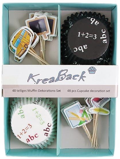 KreaBack Juego de decoración para Magdalenas (48/Papel para Magdalenas/Cupcake Decoración Moldes