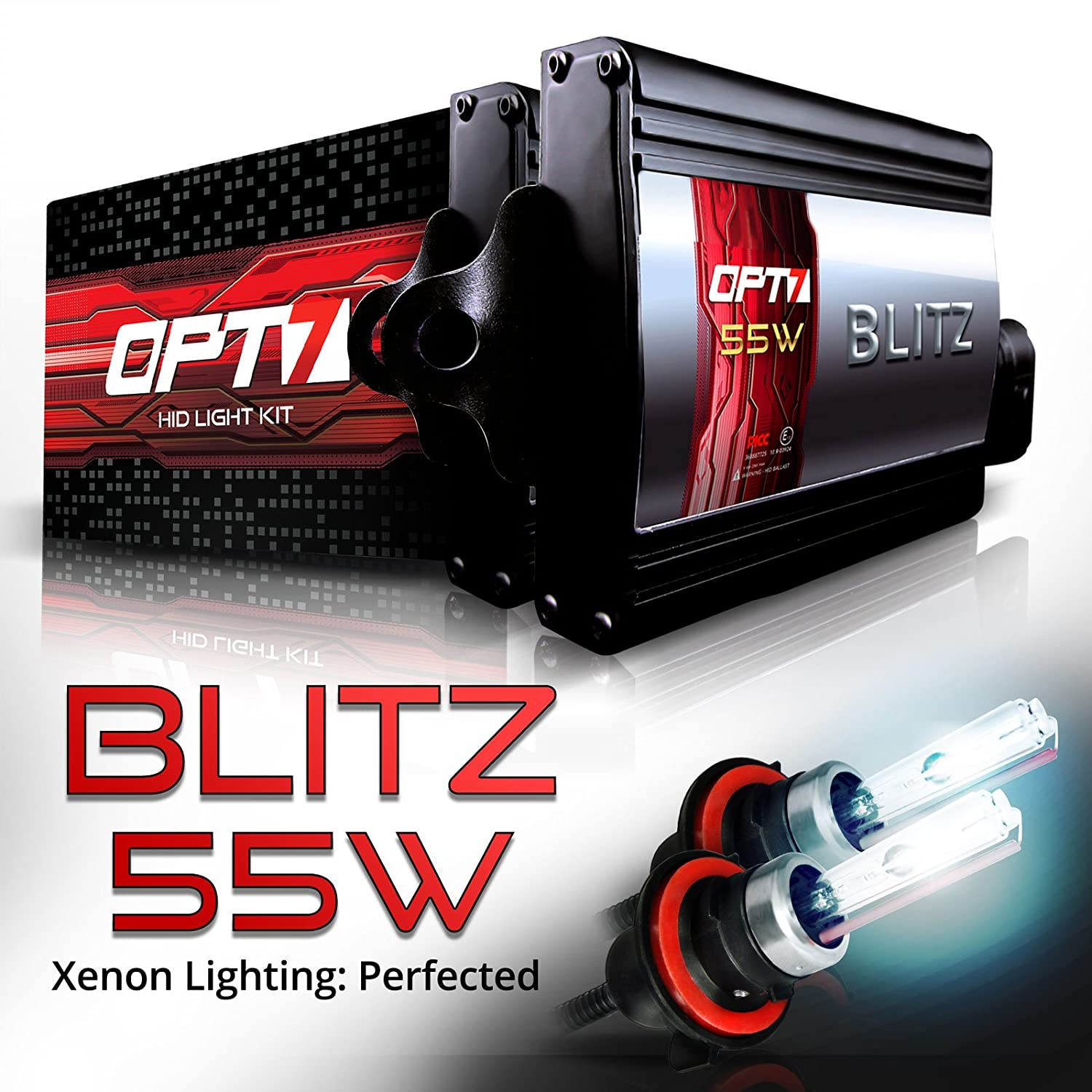 2 Yr Warranty 3X Brighter OPT7 BLTZ 55W H13 Bi-Xenon HID Kit 4X Longer Life 5000K Bright White Light All Bulb Sizes and Colors