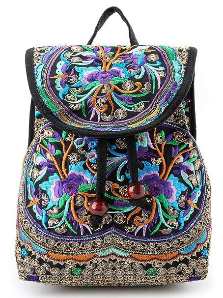 Goodhan Vintage Women Embroidery Ethnic Backpack Travel Handbag Shoulder Bag Mochila (S01: Purple)
