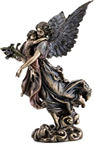 Top Collection Guardian Angel Holding Baby Statue-Collectible Angel Sculpture of Mother and Baby in Premium Cold Cast Bronze- 11.5-Inch Collectible Figurine
