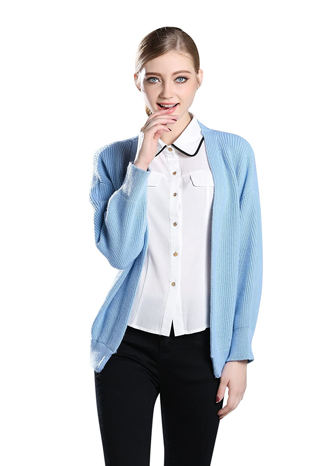 Liny Xin Women's 100% Cashmere Long Sleeve Thick Cardigan Sweater