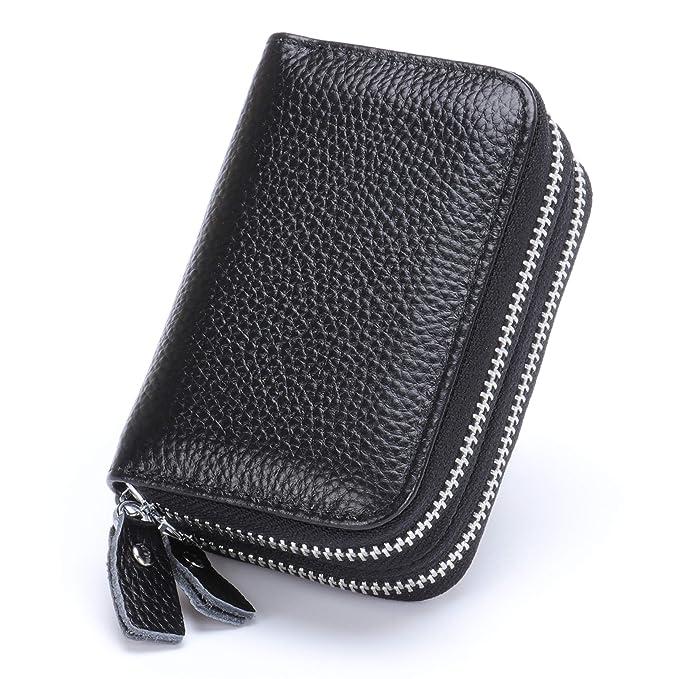 3aefca3ce14e Amazon.com: MuLier Top Grain Genuine Leather Double Zipper Around ...