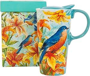 CEDAR HOME Ceramic Mug Coffee Porcelain Latte Tea Cup With Lid 18oz. Magpie Bird