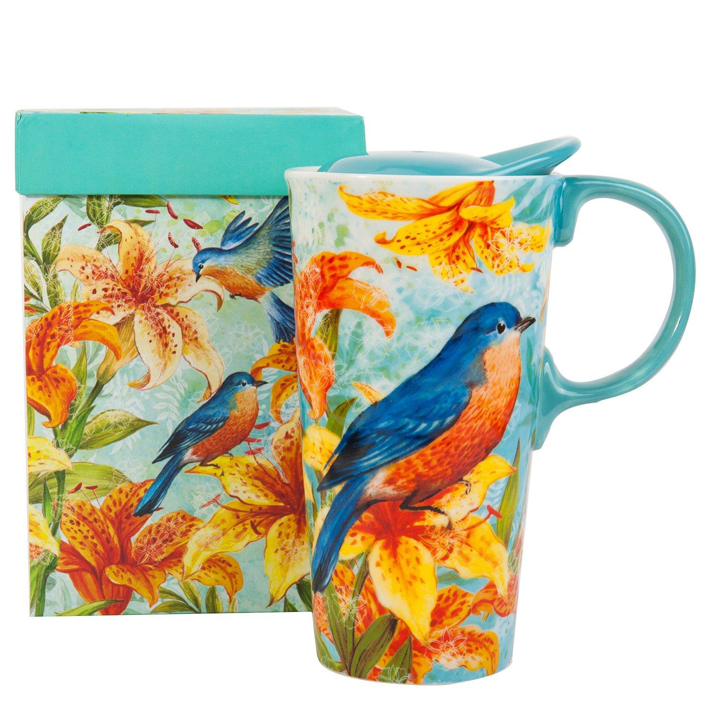 CEDAR HOME Travel Coffee Ceramic Mug Porcelain Latte Tea Cup With Lid in Gift Box 17oz. Magpie Bird