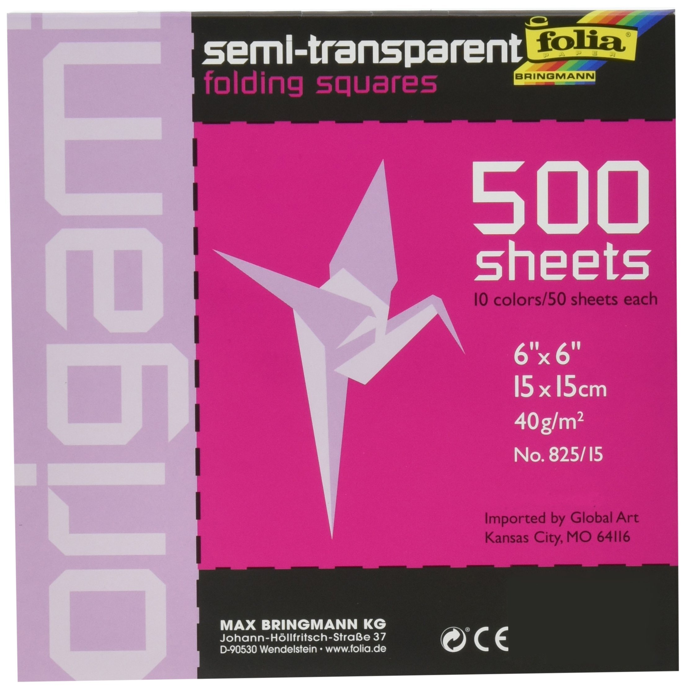 Folia Origami Paper, 6 X 6 in, Assorted Transparent Color, Pack of 500 by Folia