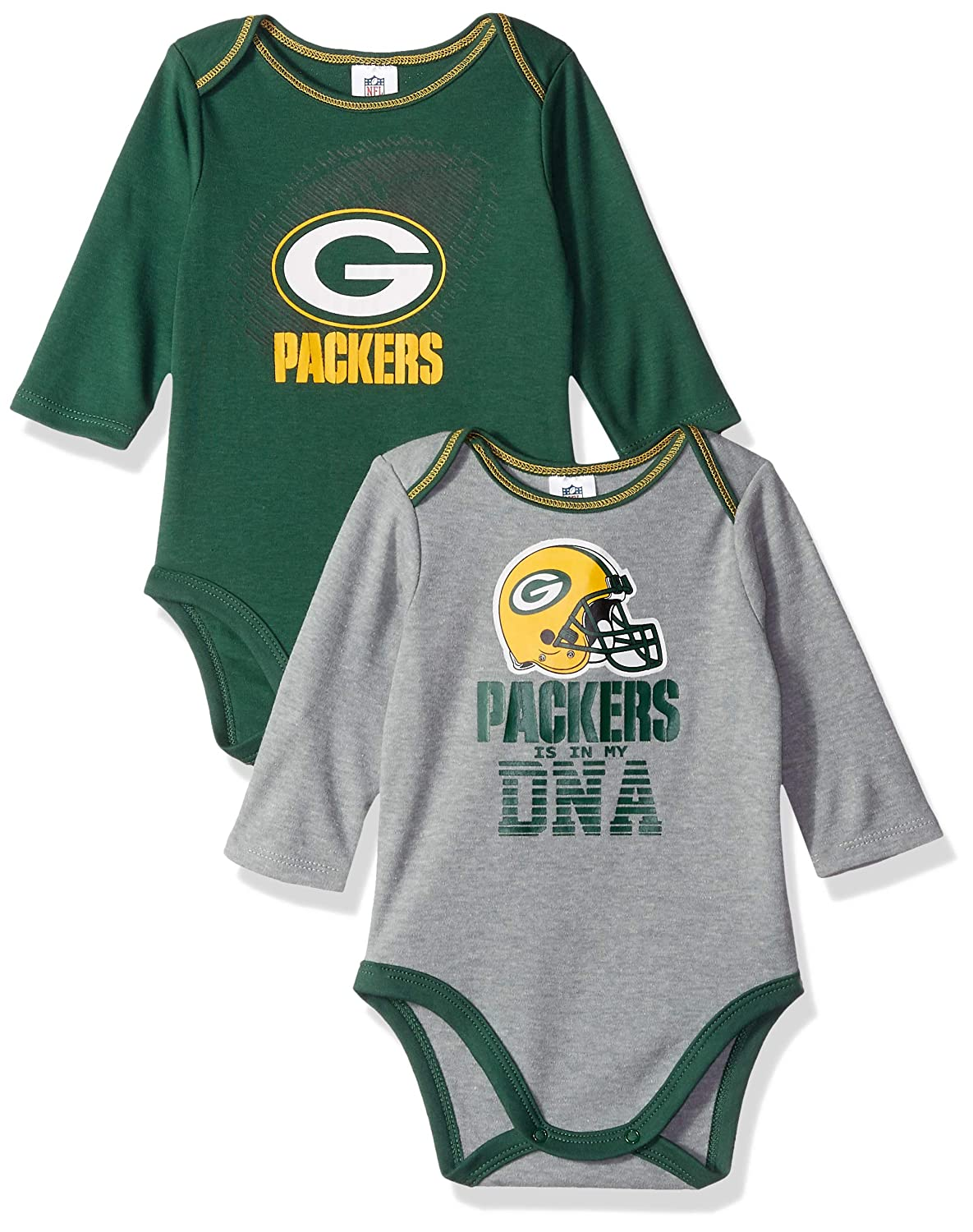 Green 03 Months NFL Boys 2 Pack Long Sleeve Bodysuit
