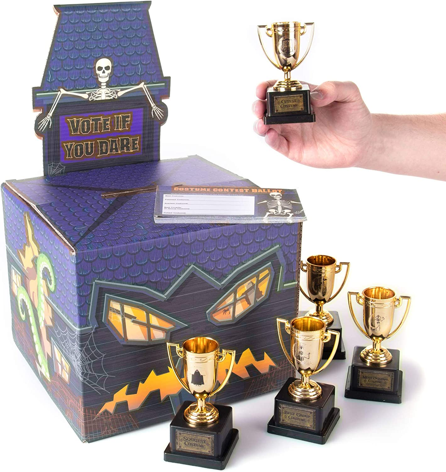 Halloween Costume Contest Party Bundle - Includes Ballot Box, 50 Ballot Voting Cards & 5 Gold Trophies - Fun Game, Decoration & Party Supplies for Home, Work, School & Bar Costume Parties Decor