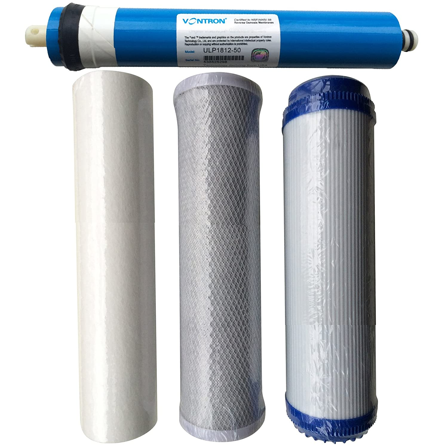 50gpd Membrane Finest-Filters Reverse Osmosis RO Unit Complete Replacement Pre Filters Including Membrane (4 Filters) (50Gpd Membrane)