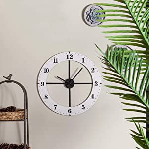 """NIKKY HOME Large Wood Wall Clocks Large Decorative for Living Room Decor, 20"""" Big Round Clocks Battery Operated Silent Noiseless, Farmhouse Clock for Kitchen Bedroom, White"""