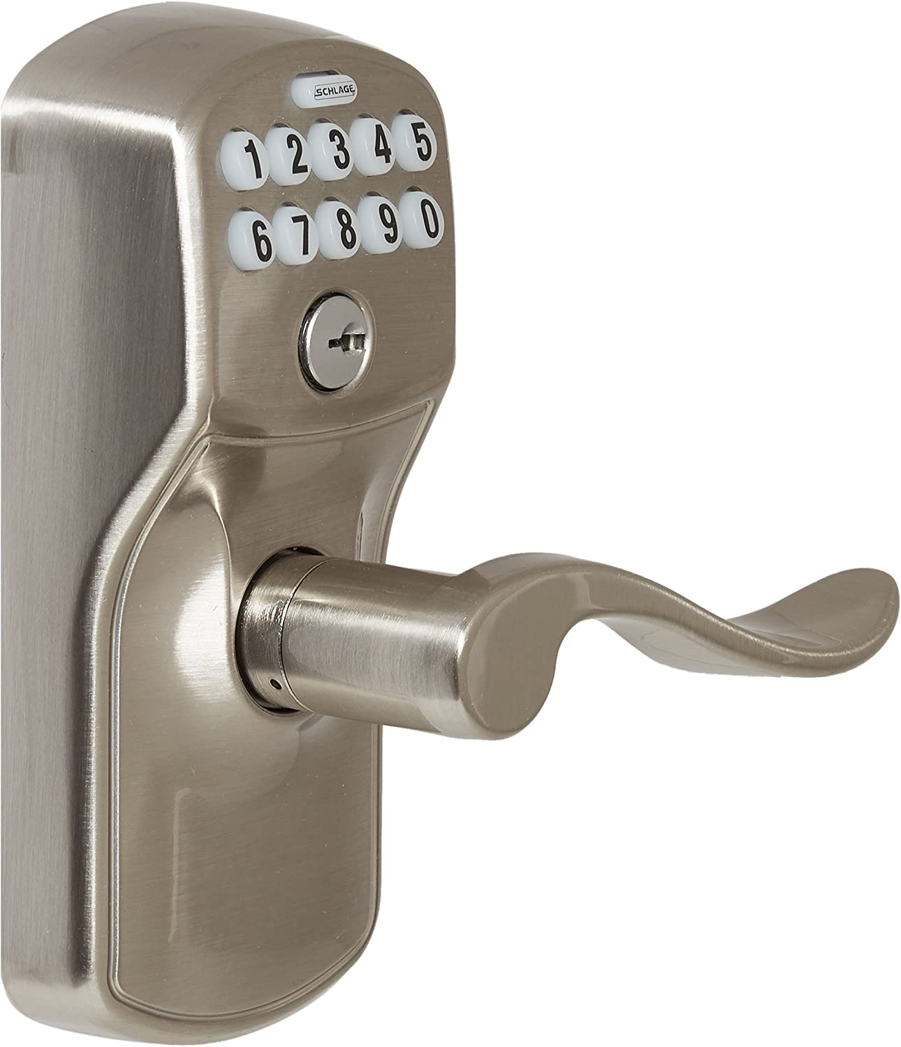 Schlage FE595PLY619ACC FE595 Plymouth Keypad with Accent Lever, Satin Nickel