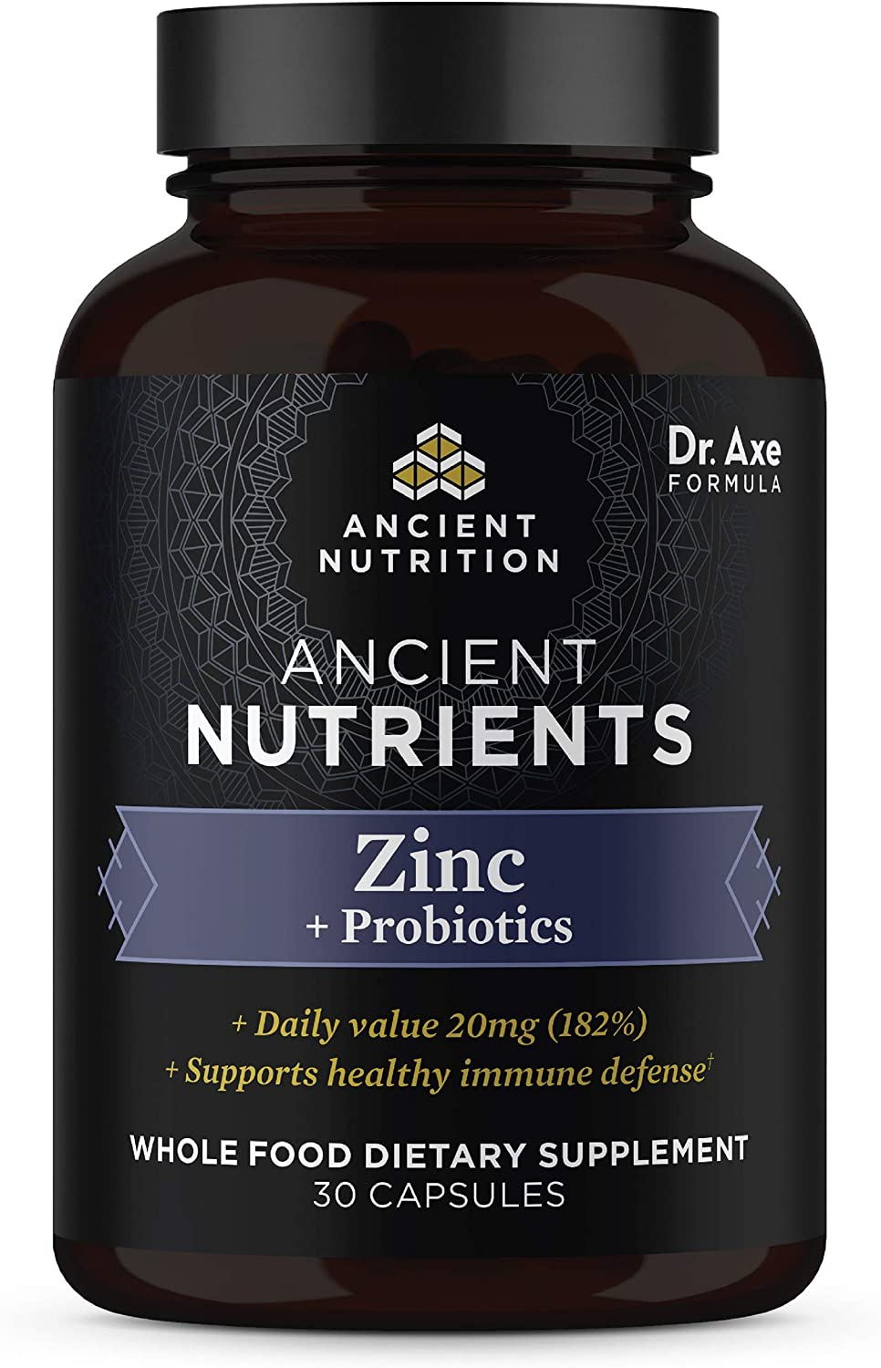 Zinc + Probiotics, 20 mg, Ancient Nutrients Zinc Whole Food Dietary Supplement, Formulated by Dr. Josh Axe, Immune System Support, Made Without GMOs, Superfood Supplement, 30 Capsules
