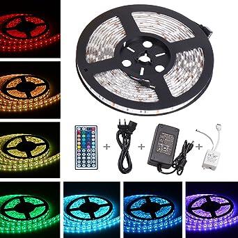 Ruban /à LED 5050 RGB SMD Multicoulore 150 LEDs 60W 5m Bande LED Lumineuse avec T/él/écommande /à Infrarouge 44 Touches et Alimentation 2A 12V ONELD Ruban LED Multicolore 5M 5050 RGB