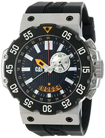 CAT Mens D314521124 Deep Ocean Chrono Black Analog Dial and Stainless Steel Case with Black Rubber