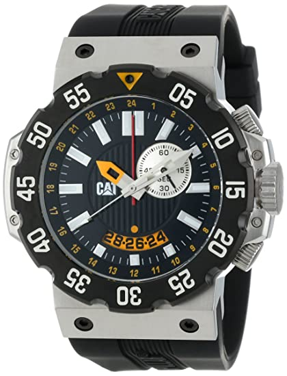 Amazon.com: CAT Mens D314521124 Deep Ocean Chrono Black Analog Dial and Stainless Steel Case with Black Rubber Strap Watch: Watches