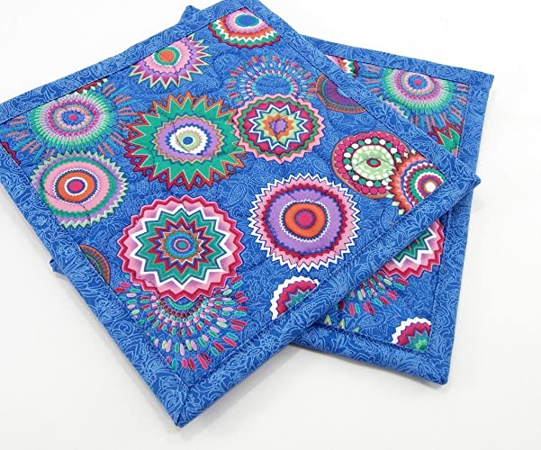 Blue Hot Pads, Quilted Pot Holders   Set Of 2 Colorful Stars In Purple,