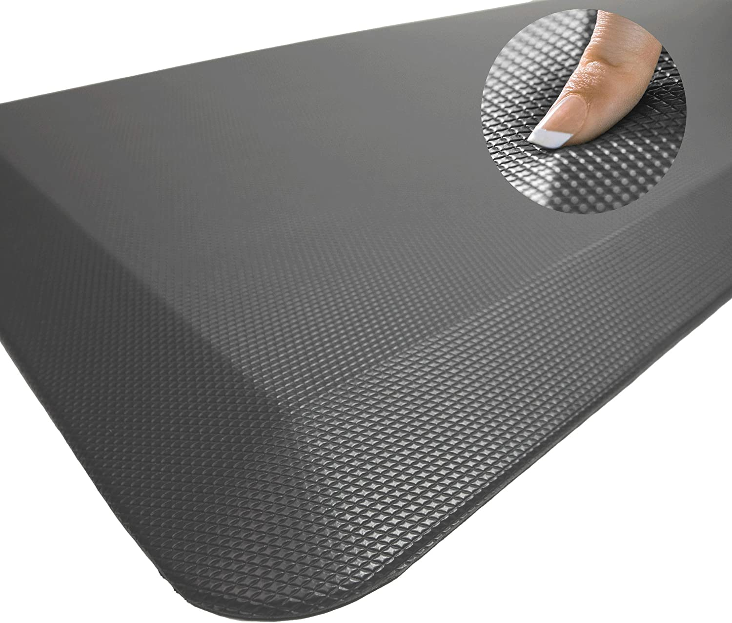 Sky Solutions Anti Fatigue Mat - Cushioned Comfort Floor Mats For Kitchen, Office & Garage - Padded Pad For Office - Non Slip Foam Cushion For Standing Desk (20x32x3/4-Inch, Gray): Kitchen & Dining