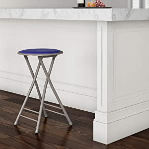 Trademark Home Folding Heavy Duty 24-Inch Collapsible Padded Round Stool, Royal