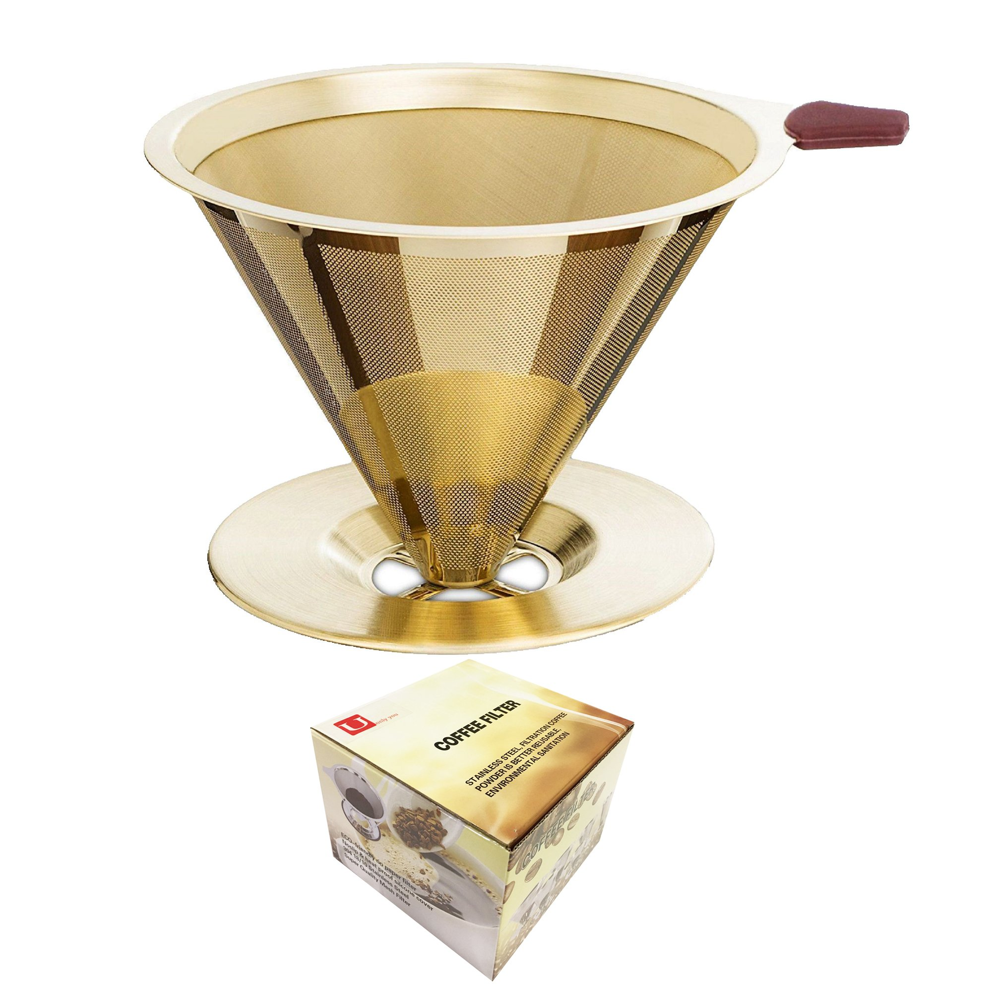 Pour Over Gold Coffee Filter,Titanium Coated Permanent Coffee Dripper with Cup Stand,Double Layered Filter,Paperless Reusable Stainless Steel Cone Coffee Maker,1- 4 Cups by U Only You (Titanium Gold)