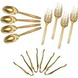 Gold Disposable Plastic Serving Utensils - Four 9 Inch Forks, Four 9 Inch Spoons and Four 6 1/2 Inch Serving Tongs