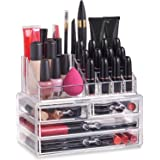 Clear Acrylic Cosmetic Organiser Display Table Storage Stand for Make Up, 4 Drawer Nail Polish, Varnish, Arts and Crafts, Brush Sets, and Jewellery
