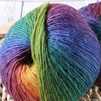 Dos hilados de lana,algodón arco iris,lana blanda en color,hilados ...