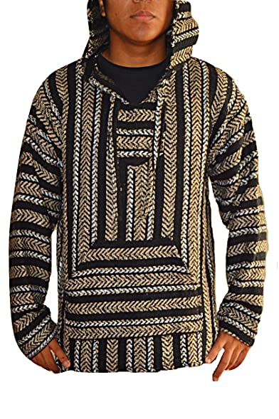 Mexican Baja Hoodie Pullover Jerga Drug Rug Sweater   Beige Black White  (Small)