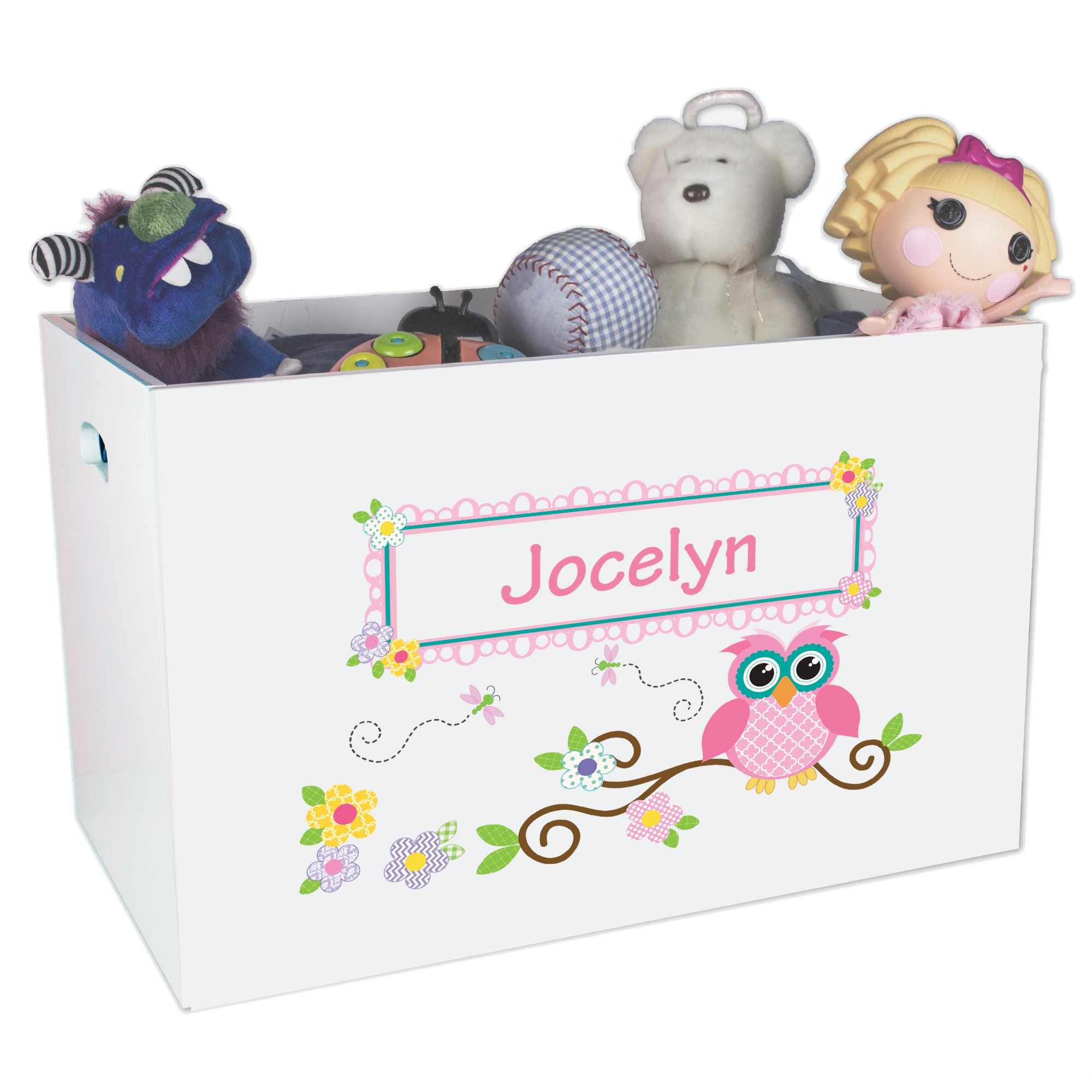 Personalized Owl Childrens Nursery White Open Toy Box