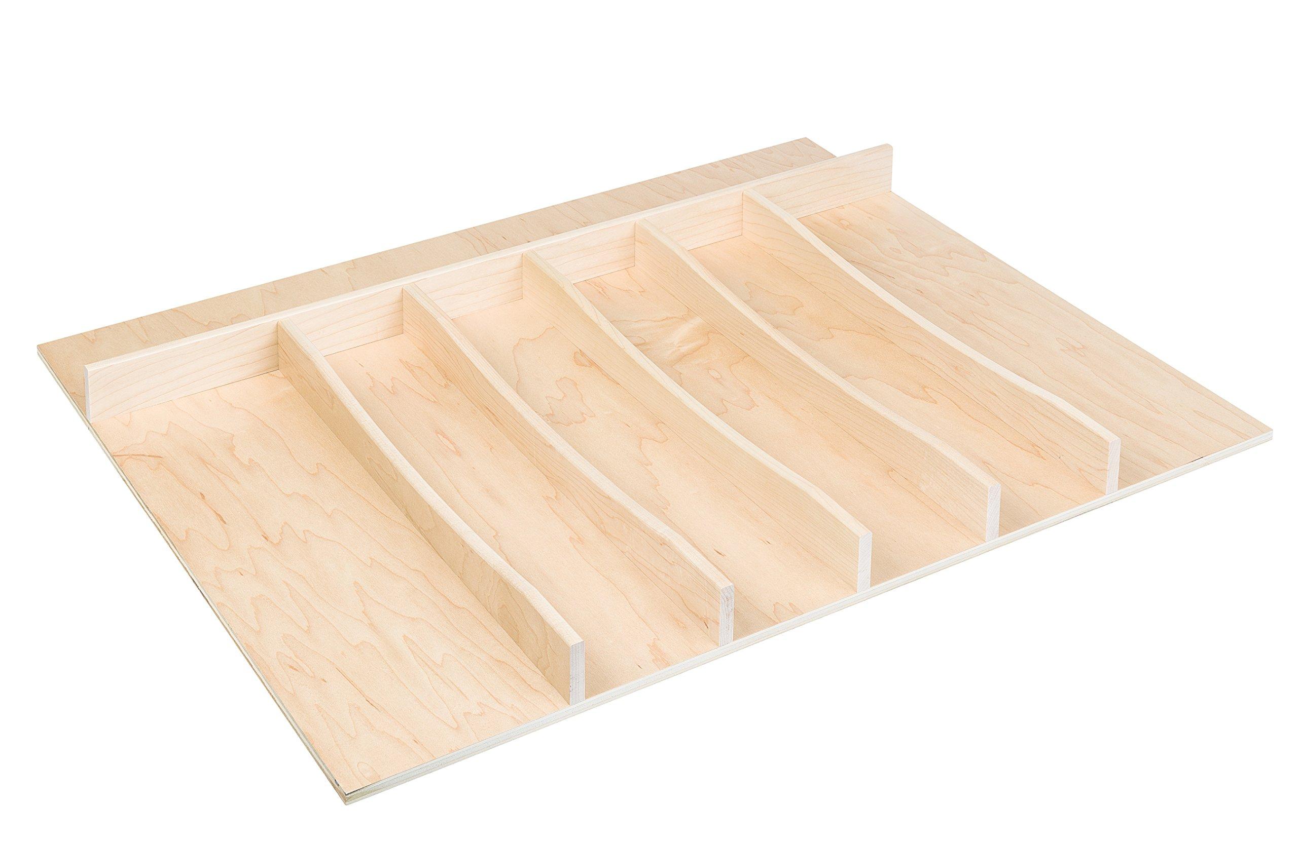 Century Components TTUT26PF Maple Wood Utensil Tray Kitchen Drawer Insert Organizer Trimmable 26-3/4'' x 22''