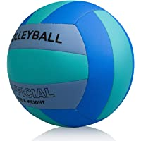 Professional Size 5 Volleyball, PECOGO PU Leather Soft Indoor Outdoor Volleyballs Sports Training Equipment for Beginner…