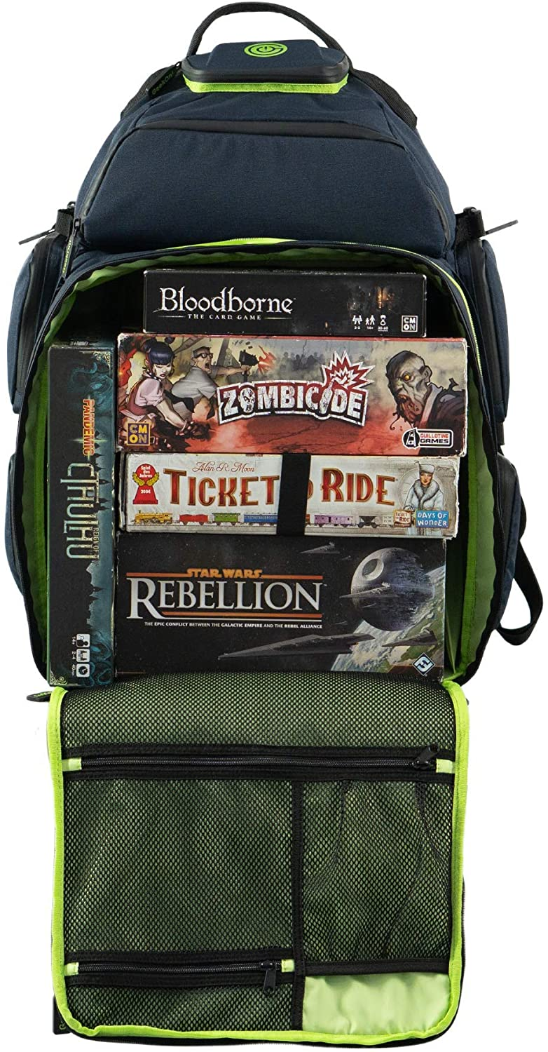 Ultimate Boardgame Backpack - The Smartest Way to Carry Your Games - Expandable Multi-Functional Backpack - Carry-on Compliant (Blue/Green)