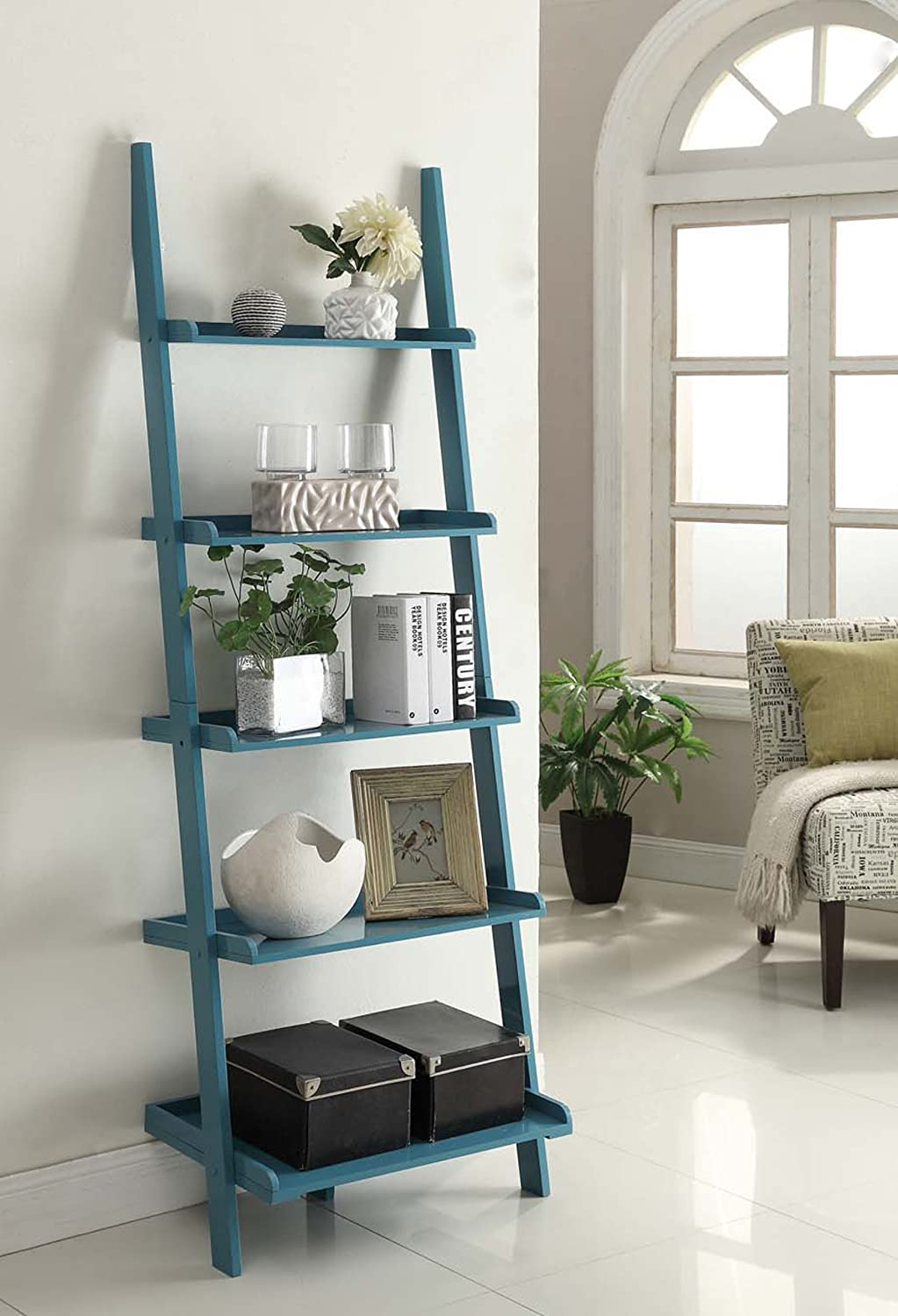 Amazon.com: Convenience Concepts French Country Bookshelf Ladder, Blue:  Kitchen & Dining