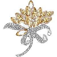 BriLove Women's Wedding Bridal Crystal Multi Marquise Corsage Brooch Pin