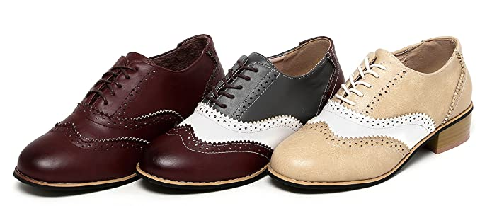 Kaloosh Ladies Pointed Toe Chunky Heel Mixed Colors Lace up Brogue Shoe WvPbD
