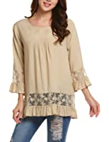 Soteer Women Casual Boho Lace O-neck 3/4 Sleeves Shirt Blouse Top S-XXL