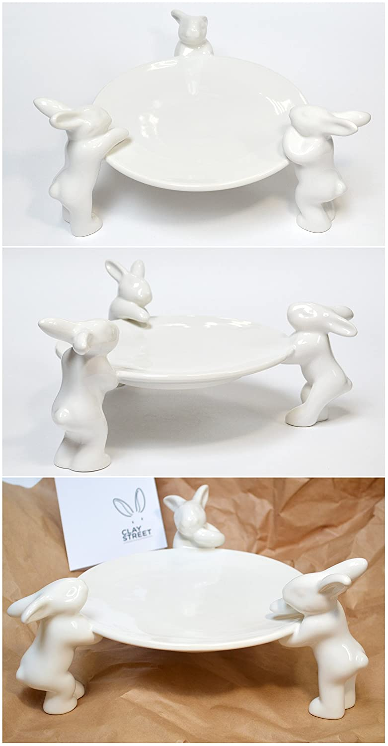 Clay Street by GP Natural Original Natural Hand Sculpt Ceramic Collectible Porcelain Charming Set of 2 Rabbit Coffee Cups with 2 Saucers Bunny ?rockery Art Collection of Tableware Crafts