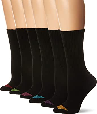 Hanes Women's Ultimate Lightweight Vent Crew Sock 6-Pack, black