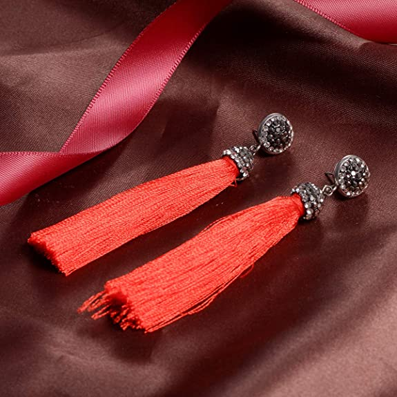 HOUSWEETY Alloy Red Temperament Long Tassel Earrings with Rhinestones