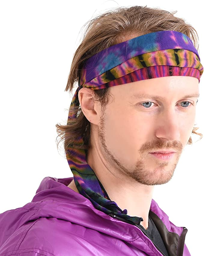 60s -70s  Men's Costumes : Hippie, Disco, Beatles CHARM Tie-Dye Headband Bandana Boho Hippie Retro Flower Psychedelic 60s $14.99 AT vintagedancer.com