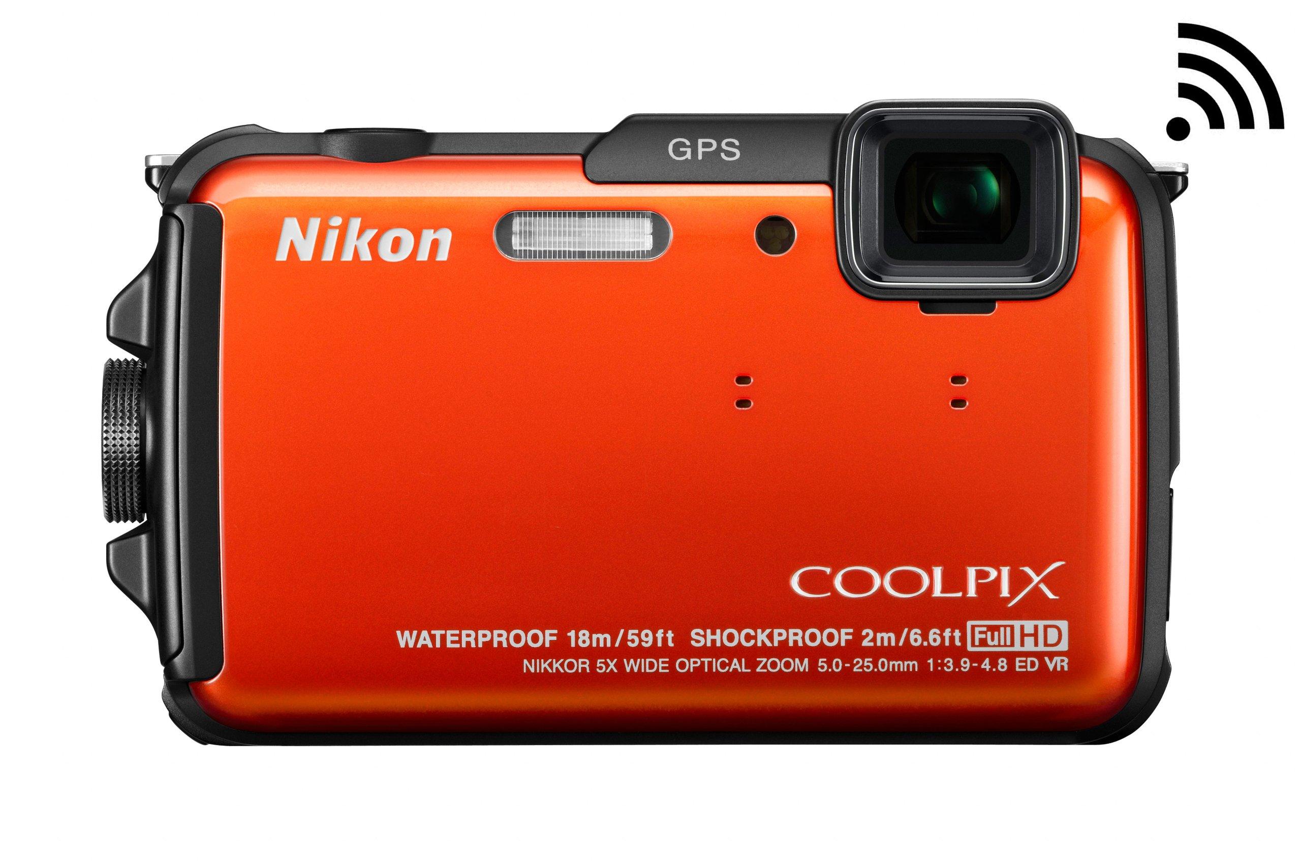 Nikon COOLPIX AW110 Wi-Fi and Waterproof Digital Camera with GPS (Orange) (OLD MODEL) by Nikon