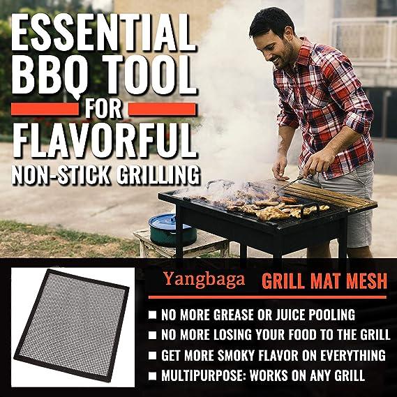 ZILONG Tapis Grille Barbecue Réutilisable, Tapis de Cuisson Anti adhésif pour Barbecue ou Yaourtières, Compatible Fonctionne Bien avec BBQ