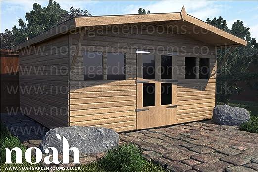 Noah - Cobertizo de jardín de madera, resistente, 10 x 10 cm, para taller o garaje: Amazon.es: Jardín