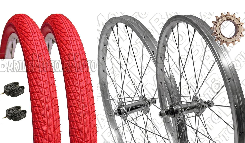 & 039;Paar Räder Fahrrad Graziella – MTB 20 x 1.75 + Ritzel Z16 + Reifen rot + Kammern + Flap