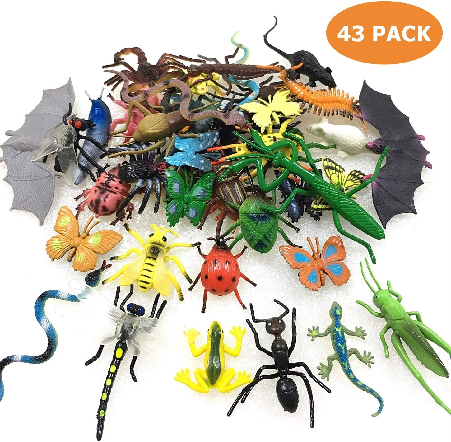 43 Pack Fake Bugs Mini Realistic Insects Toys for Kids Toddler Children's Birthday Gift Halloween Treats Bugs Insects Goody Bag Filler