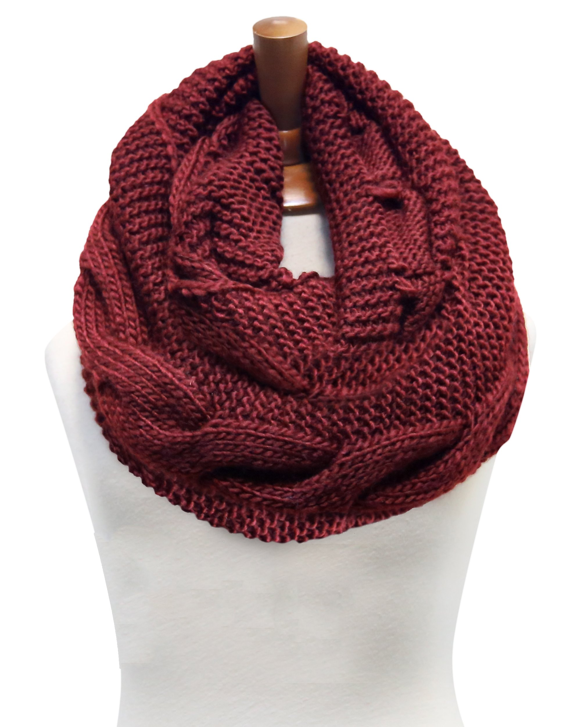Basico Women Winter Chunky Wide Knitted Infinity Scarf Warm Circle Loop Various Colors (Twist 1pk- Rust)